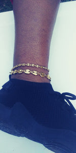 14k Gold Plated 4mm and 8mm Gucci link puff Anklet