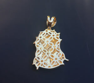 14k Gold plated Jesus pendant cz diamonds