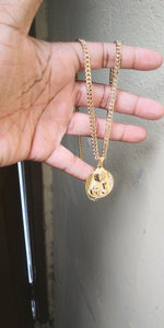 14k Gold Filled 3mm Cuban Link Chain and pendant