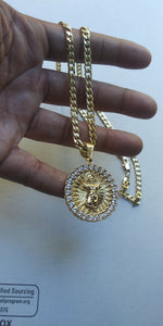 18k Gold Filled 5mm Cuban Link Diamond Cut Chain and iced out jesus Pendant  Set