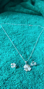 Silver Necklace and Studd Earrings cz diamonds