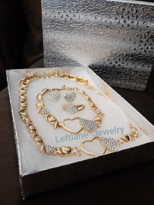 14k Gold Plated Womens Double Heart 💖 X&o Hugs and Kisses Full xoxo Set Chain earrings ring and Bracelet