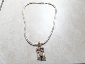 Gold filled 3 mm tennis chain and iced out Jesus pendant