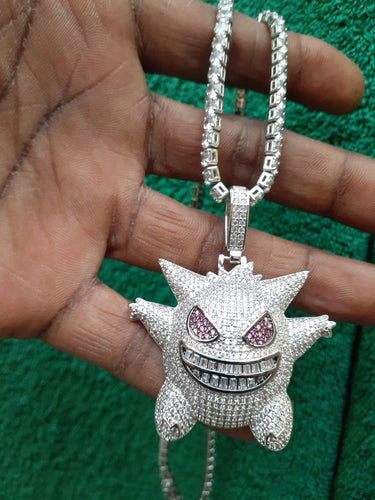 White Gold filled 3 mm tennis chain and iced out pendant
