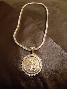 14k Gold filled 3 mm tennis chain and iced out pendant