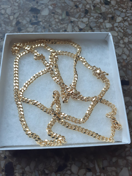 10k Gold Bonded 925 Sterling Silver 3mm Cuban link Chain and Bracelet set