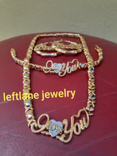 14k Gold Filled Womens 💖 X&o Hugs and Kisses Full xoxo Set Chain And Bracelet with tri color I love you earrings