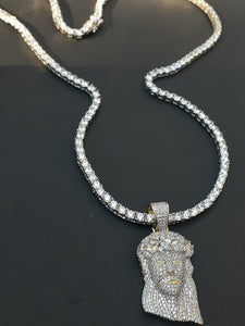 3mm 925 Silver Cz Diamond 20inch Tennis Chain and Iced out Jesus pendant Made from Silver