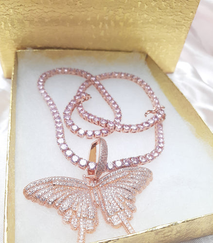 Rose Gold filled 4 mm tennis chain and iced out Butterfly pendant
