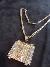 14k Gold Plated 6mm Cuban link chain and pendant  set