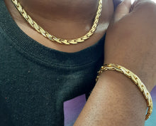 14k Gold Filled Womens Cuban link Chain and Bracelet  set