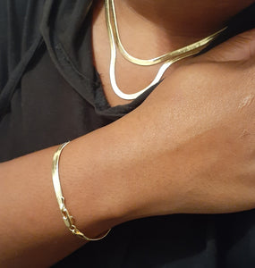 14k Gold filled 4mm 18inch 20inch Layered Herringbone Chain and Bracelet set