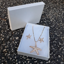 14k Gold Filled 2mm 2 tone Chain, iced out Star Fish Pendant and earrings  Set