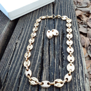 "8mm 18k GOLD PLATED ""ICE ME"" GUCCI LINK SET CHAIN AND Earrings"