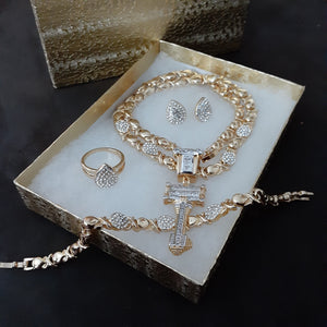 "Copy of 14k Gold Plated Womens ""Its the key to my Heart""💖 X&o Hugs and Kisses Full xoxo Set Chain earrings ring and Bracelet"