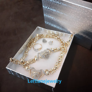 14k Gold Plated Womens Iced Heart 💖Teddy bear X&o Hugs and Kisses Full xoxo Set Chain earrings ring and Bracelet