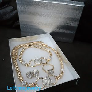 14k Gold Plated Womens 💖Bow X&o Hugs and Kisses Full xoxo Set Chain earrings ring and Bracelet