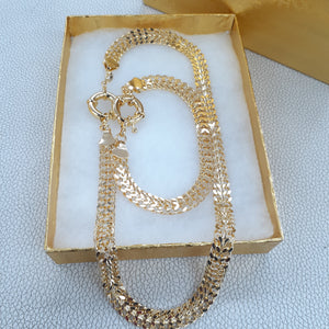 Gold Filled Womens Double Cuban link Full Set Chain And Bracelet