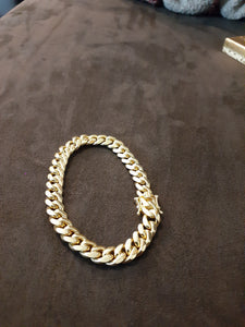 10k Gold Over Silver 8.5mm Cuban link Bracelet