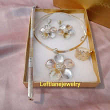 14k Gold Filled Womens Full Set Tri Colored Chain, 3d Flower Charm And Earrings
