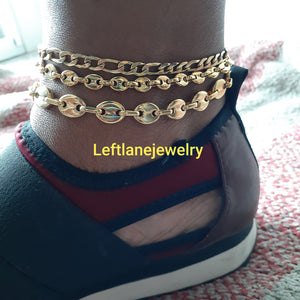 14k Gold Plated 3mm Figaro anklet, 4mm and 8mm Gucci link puff Anklet