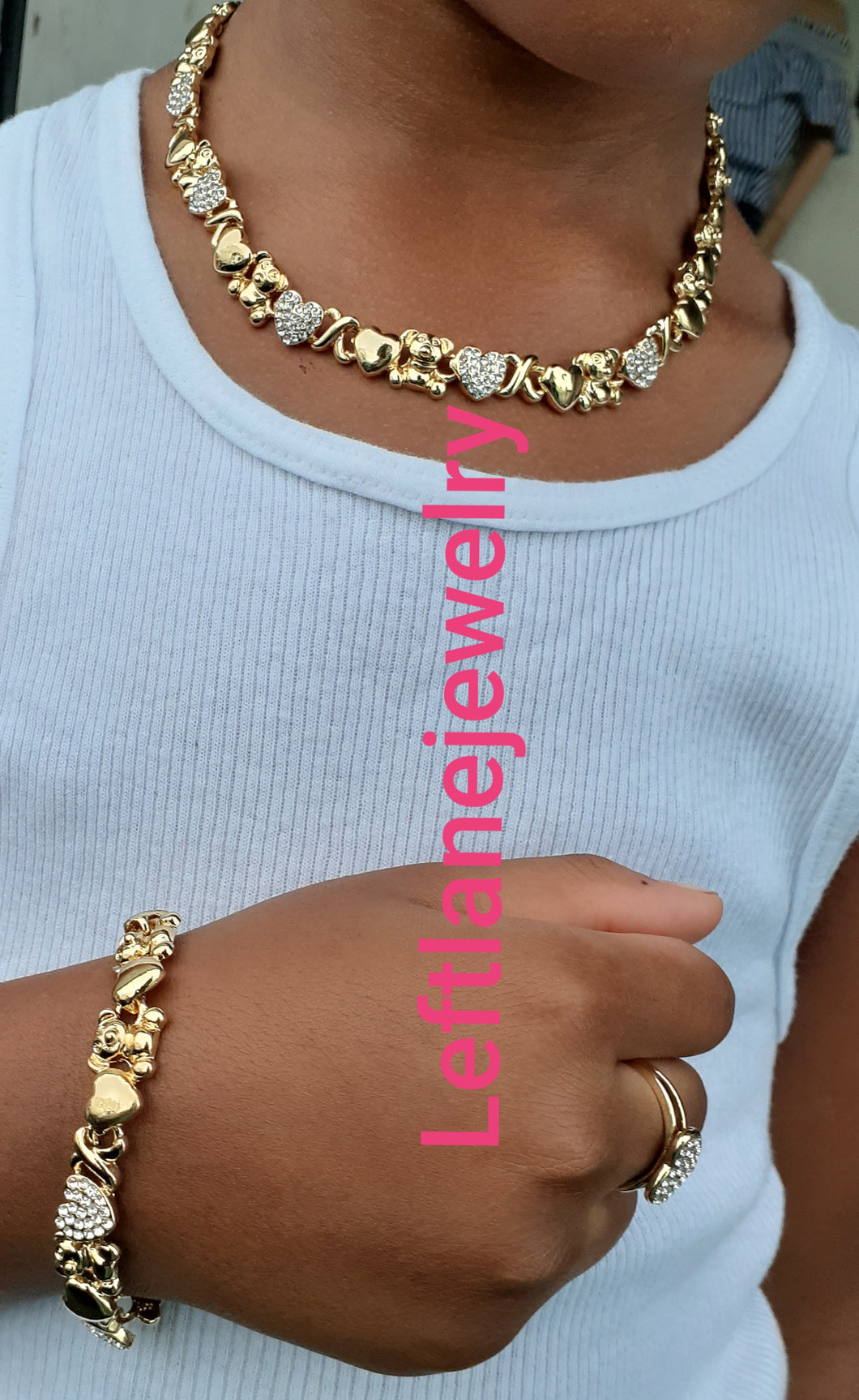 14k Gold Filled Girls Full Set xoxo teddy bear set Chain, Ring, Bracelet And Earrings