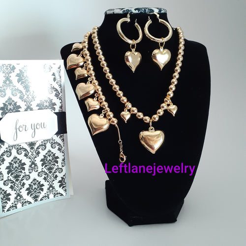 14k Gold Filled Full Set chunky triple iced heart xoxo set Chain, Ring, Bracelet And Earrings