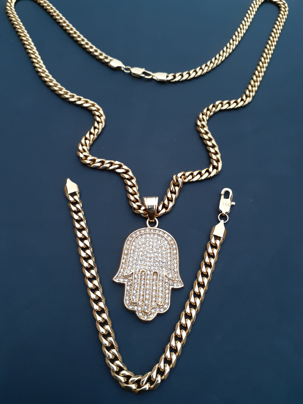 14k gold plated 6mm Miami Cuban link Chain bracelet  and pendant set