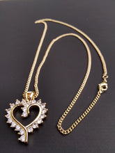 18k Gold Filled 2mm Cuban Link Chain and Heart Pendant  Set