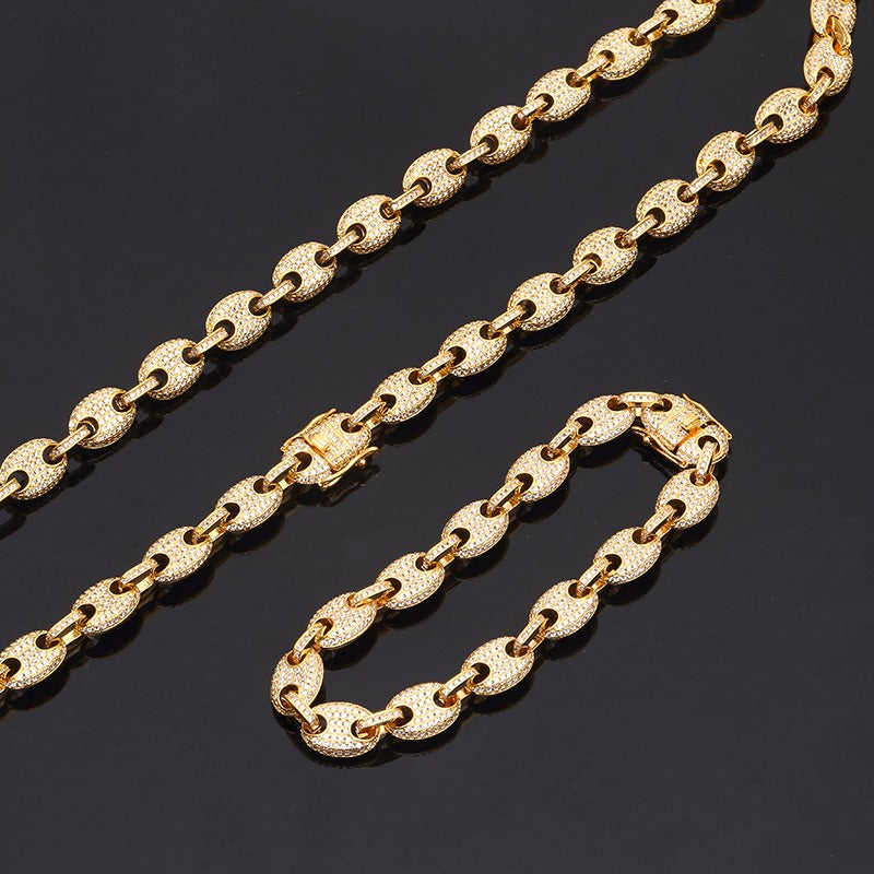 9mm 14k GOLD PLATED ICED OUT MICRO PAVE GUCCI LINK SET CHAIN AND BRACELET