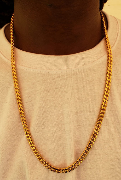 8mm 18k Gold Plated Miami Cuban Link Chain