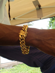 16mm 14k Gold Plated 8inch Miami Cuban Link Bracelet