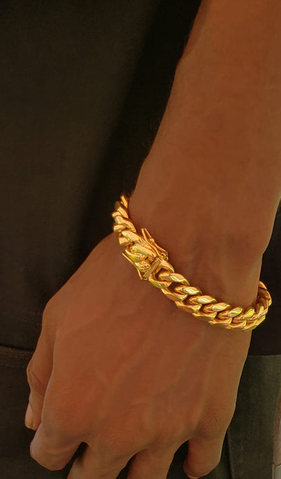 12mm 18k Gold Plated Miami Cuban Link Bracelet
