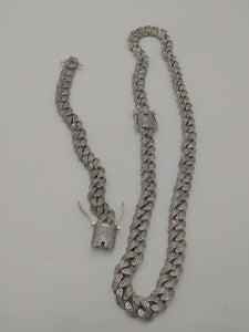 14k 12mm White Gold plated micro pave Lab diamond Cuban link two chain setup