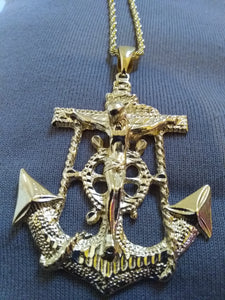 14k gold plated Jesus cross anchor pendant