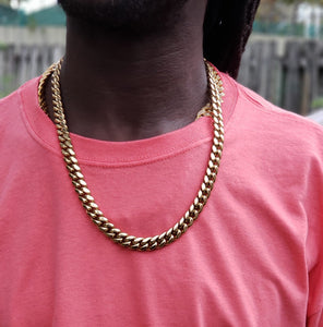 10mm 14 karat PVD gold-plated Cuban Link Chain