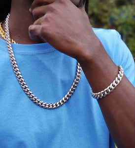New Arrival....🕺🏋️🏌️🤳 12mm White Gold Plated Cuban link Chain and Bracelet Set
