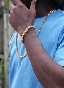 6mm...14k Gold Plated Franco Chain and Bracelet Set