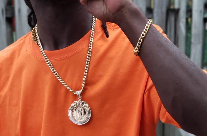 8mm 14k Cuban link Chain and Bracelet with Gold Filled Pendant