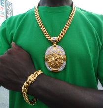 New Arrival 18k Gold Plated 14mm Cuban Link Chain And Bracelet Set With A Nice Big Jesus  Piece