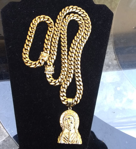 New Arrival 14k Gold Plated 12mm Cuban Link Chain And Bracelet Set With Pendant