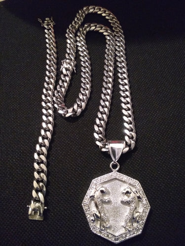 12mm White Gold Plated Cuban Chain , Bracelet and Pendant Set