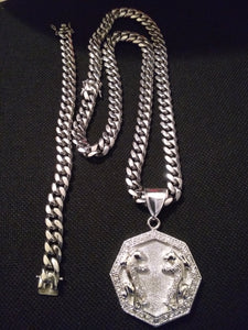 12mm 18k White Gold Plated Cuban Chain , Bracelet and Pendant Set