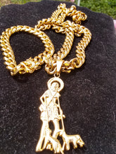 New arrival 12mm 18k Gold Plated Cuban Chain , Bracelet and Pendant Set