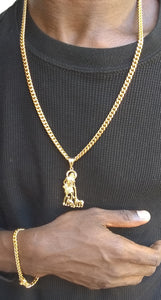 6mm 14k Gold plated Cuban Link Chain and Bracelet with Pendant