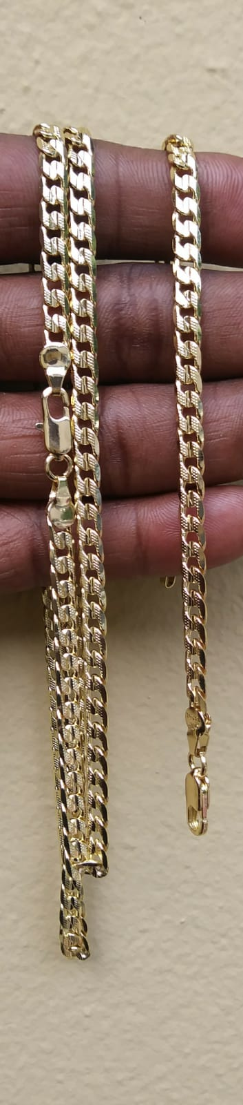 18k 5mm Gold filled Diamond Cut Cuban link Chain And Bracelet