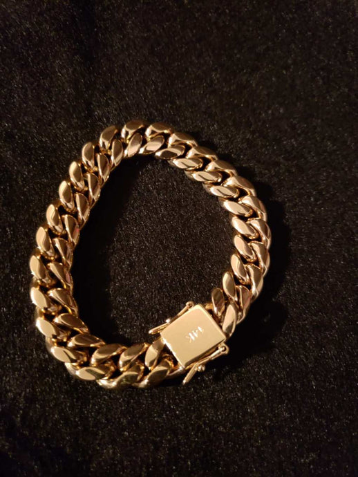 12mm 14k Gold Plated Miami Cuban Link Bracelet