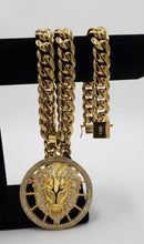 New Arrival 14k Gold Plated 14mm Cuban Link Chain And Bracelet Set With A Nice Big Lion Head Piece
