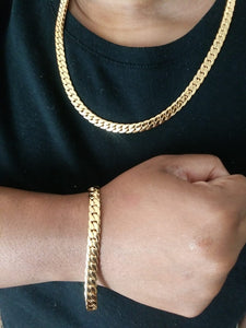 10mm 18k gold plated Flat Miami Cuban link set chain and bracelet