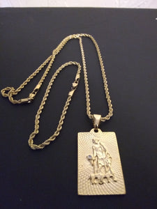 14k Rope Chain Bracelet And Pendent Set